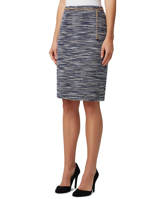 Tahari Asl Chain-Belt Pencil Skirt Blue Metallic Boucle 18