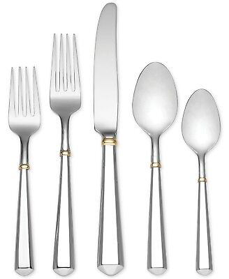(Todd Hill Gold by Kate Spade Stainless Steel Flatware Set Service 6 New 30 pcs)
