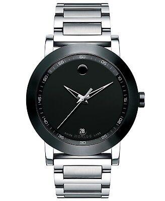 NEW Movado Mens Museum Sport 0606604 Black Dial Swiss Quartz  Watch