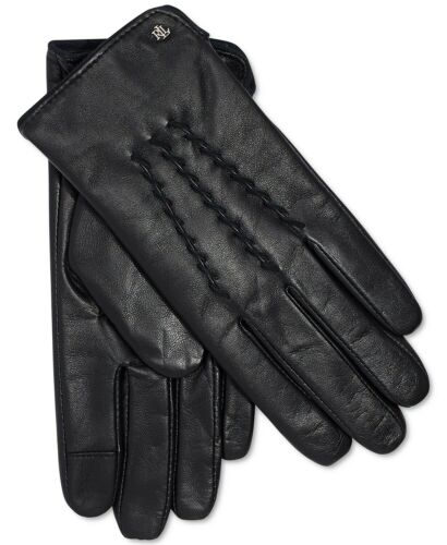 NWT LAUREN Ralph Lauren Womens Leather Whipstitch Touch Gloves