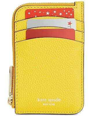 Kate Spade Margaux Zip Card Holder Key Fob Case Leather Wallet ~NWT~ Yellow (Leather Zip Key Holder)