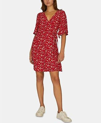 Sanctuary Girl On Fire Floral Print Wrap Dress Red Size L