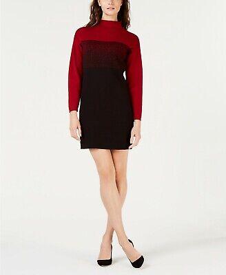 - $280 ANNE KLEIN WOMEN'S RED BLACK COLOR-BLOCKED MOCK-NECK SWEATER DRESS SIZE XS