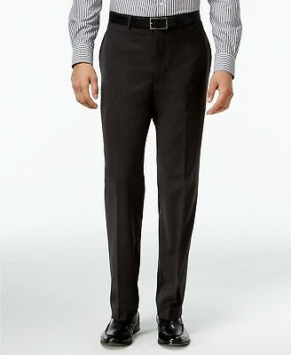$159 CALVIN KLEIN Men's Gray Extreme Slim Fit FLAT FRONT DRESS PANTS 36 W 32 L