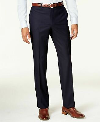 $125 Kenneth Cole Techni-Cole Navy Shadow Check Slim-Fit Dress Pants 40 x 32
