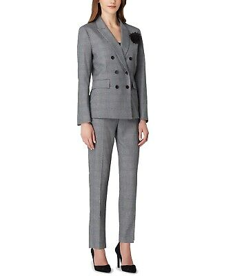 Tahari By ASL Womens Pant Suit Gray Size 10 Double-Breasted Plaid $300- 663