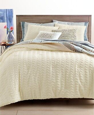 Martha Stewart Whim Chevron Chenille 3-Pc FULL/QUEEN Comforter Set IVORY i3982