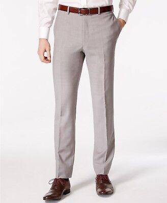 $200 CALVIN KLEIN Men's Gray Wool Extreme Slim Fit FLAT FRONT PANTS 32 W 34 L