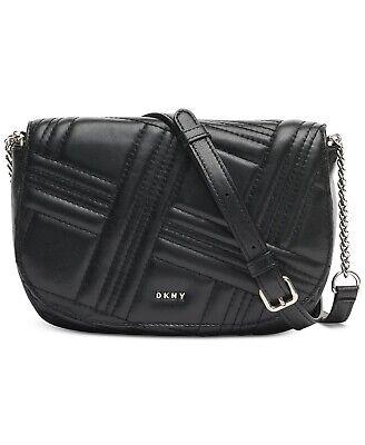 DKNY ALLEN Black LEATHER QUILTED SADDLE Crossbody Handbag