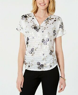 JM COLLECTION FLORAL PRINT ZIP NECK SHORT-SLEEVE TOP       SIZE LARGE NWT Short Sleeve Printed Zip