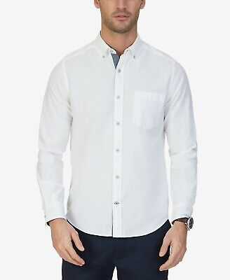 $95 Nautica Men Classic-Fit White Long Sleeve Logo Oxford Cotton Shirt 4XLT Tall