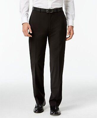 $249 CALVIN KLEIN Men's Black Wool Extreme Slim Fit FLAT FRONT PANTS 36 W 32 L