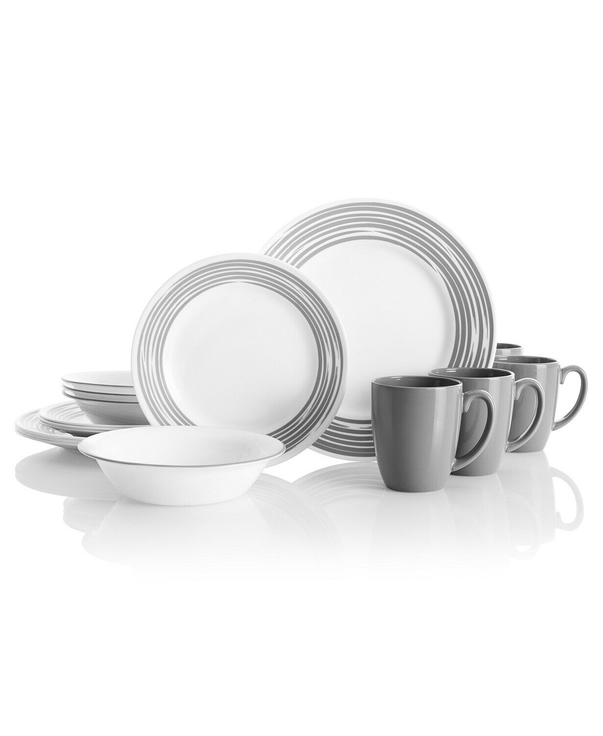 Corelle Brushed Silver 16-Pc. Dinnerware Set, Service for 4