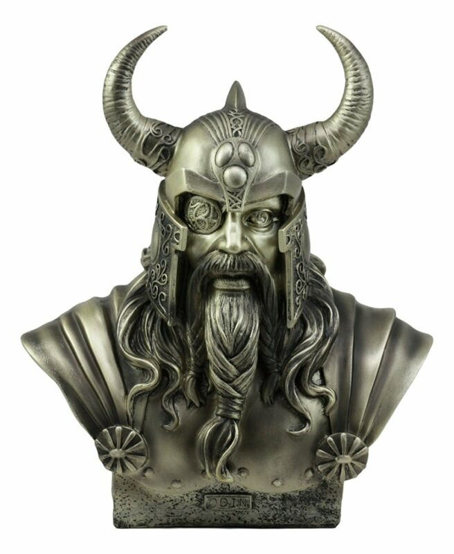 Norse Viking Warrior God Odin The Alfather Bust Statue Ruler Of Asgard Figurine