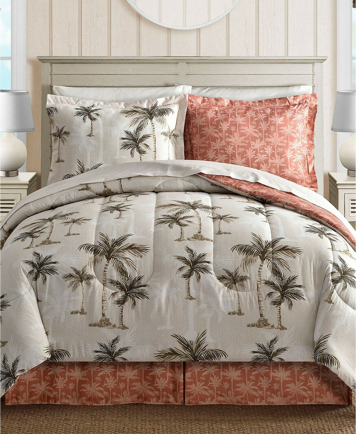 Fairfield Square Palm Tree Reversible 8-Pc. King Comforter S