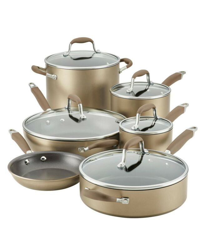 Anolon Advanced Home 11 Piece Nonstick Cookware Set | Hard Anodized | Bronze