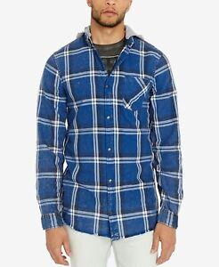 Buffalo David Bitton Men/'s Classic-Fit Hooded Plad Sak-X Snap-Button Shirt Blue