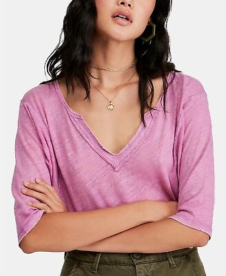 $68 Free People Head In The Clouds V Neck Electric Bloom Hot Pink Linen Top XS
