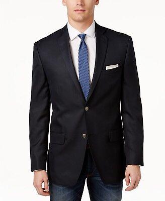 $375 Alfani Men'S 40r Solid Blue 2 Button Jacket Slim Fit Blazer Sport Coat