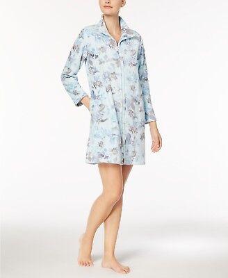 Miss Elaine Fleece Robe Floral Print Short Robe Zipper front S, M, L