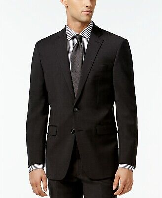 CALVIN KLEIN Mens Solid X Slim Fit Suit Jacket Blazer Charcoal Grey 42R NEW $475