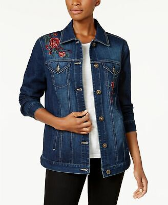 Style Co Embroidered Denim Trucker Jack Aries -