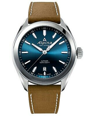 Alpina Alpiner Quartz Blue Dial Brown Leather Strap Men's Watch AL-240NS4E6