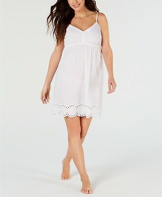 $44 Charter Club Eyelet Lace Woven Cotton Chemise Nightgown, White, -