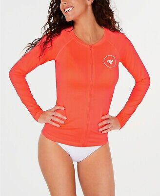 Roxy Juniors Essentials Long Sleeve Zipper Rash Guard Womens XS Orange Coral NWT Junior Long Sleeve Rash Guard