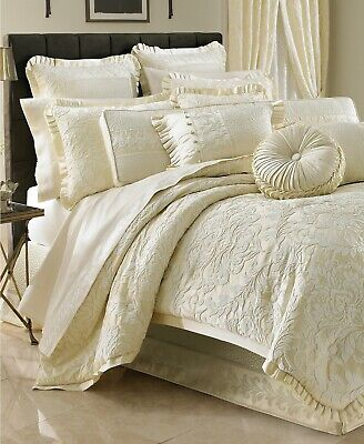 J Queen New York Marquis 4-Pc. Damask Pleated Comforter Set - KING - Cream