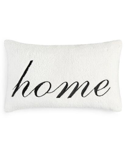 "Martha Stewart Collection Soft Sherpa ""Home"" 24"" x 16"" Decorative Pillow - White"