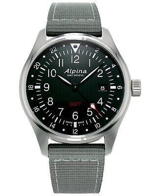 Alpina Startimer Pilot GMT Quartz Black Dial Nylon Strap Men's Watch AL-247B4S6