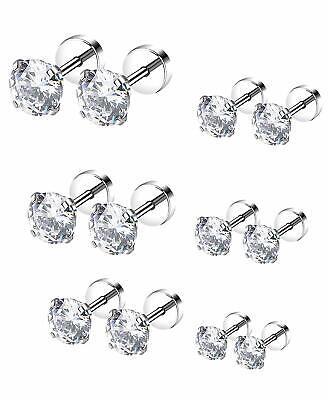 2P Women Men Silver Stainless Steel White CZ Zirconia Stud Earrings Screw Back