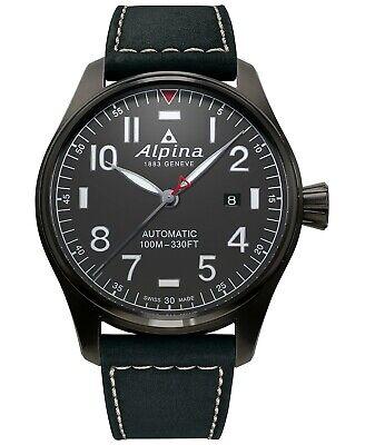 Alpina Startimer Pilot Automatic Gray Leather Strap Men's Watch AL-525G4TS6