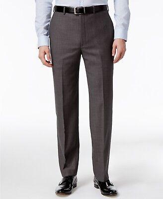 $198 CALVIN KLEIN Men's Gray Wool Fit FLAT FRONT PANTS TROUSERS 40 W 32 L