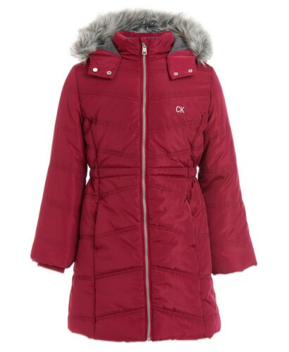 Calvin Klein jeans Toddler Girls Zip Aerial Puffer Jacket Berry Size 2T 2 T NEW