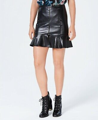 GUESS Women's Caspian Faux-Leather Mini Skirt Size 0