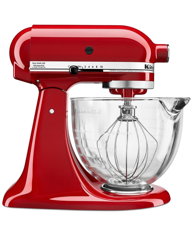 KitchenAid 5 Qt Stand Mixer w/ Glass Bowl & Flex Edge Beater