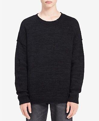 Calvin Klein Jeans Men's Distressed Sweater, Black, XL     MSRP:$98.00