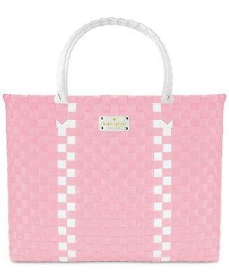 Kate Spade Woven Vinyl Pink & White Large Tote Shopping Beach Bag, NEW!](White Tote Bags)