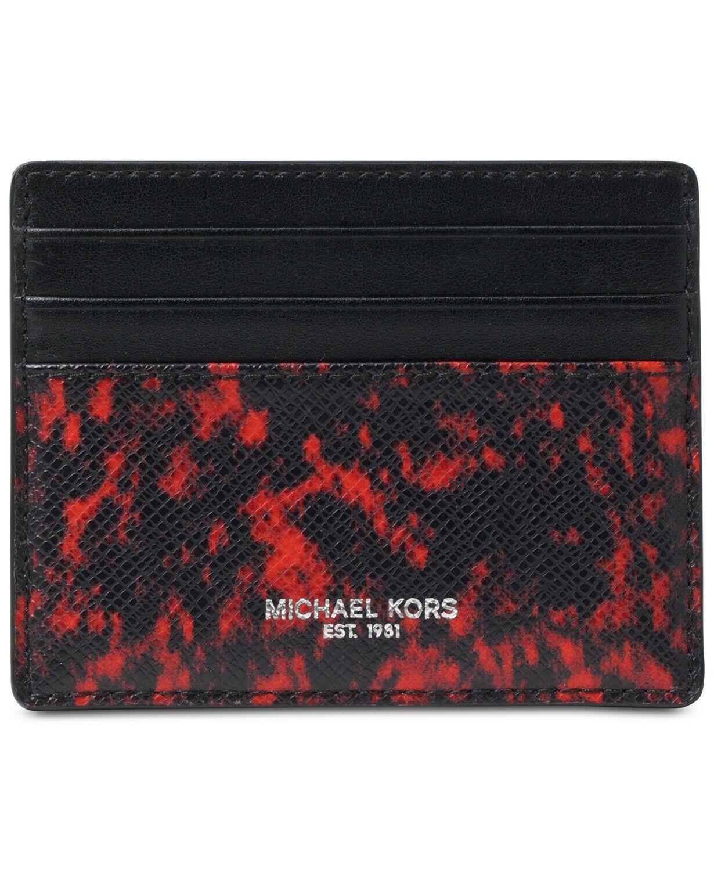 Michael Kors Men's Kent Card Case Holder Red Black RFID Dust