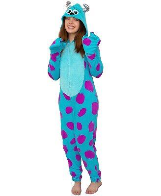 Adult Monsters Inc Costumes (Adult Monsters Inc Unionsuit Sulley Costume Hoodie Pajamas Sleepwear Cosplay)