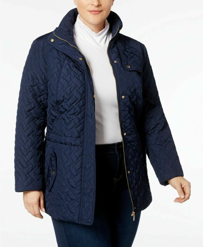 Charter Club Plus Size Quilted Zip-Front Jacket Blue