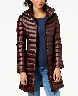 Calvin Klein Duck Down Quilted Hooded Packable Puffer Jacket Coat XL Shine Wine](calvin klein jacket packable hooded quilted puffer)