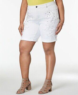 INC International Concepts Plus White Star-Studded Bermuda Shorts SIZE (Bermuda Studded Shorts)