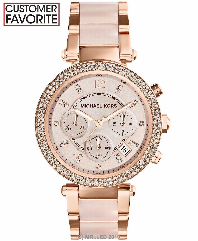 New Michael Kors Parker Rose Gold Blush MK5896 Watch for Wom