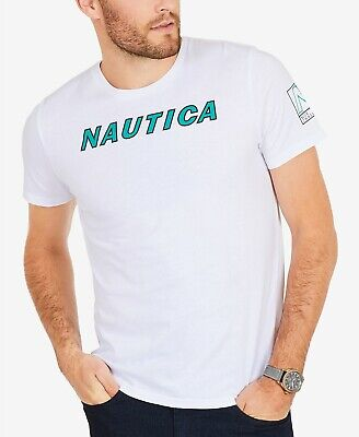 $115 NAUTICA Men's WHITE CREW-NECK SHORT-SLEEVE LOGO GRAPHIC TEE T-SHIRT SIZE M