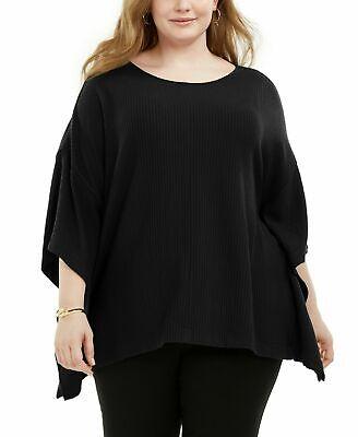 Alfani Women's 3x Plus Size Knit Top Cape Top, Asymmetric, Black, $76, NwT