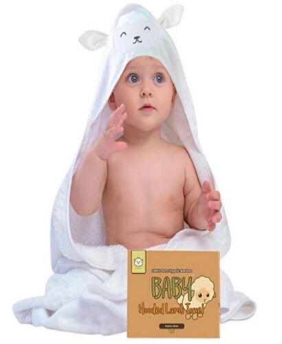 LOT KeaBabies Bamboo Hooded LAMB Towel 35 x 35 & WashClothes Pack/6 - WHITE
