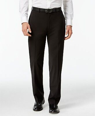 $249 CALVIN KLEIN Men's Black Wool Extreme Slim Fit FLAT FRONT PANTS 36 W 30 L